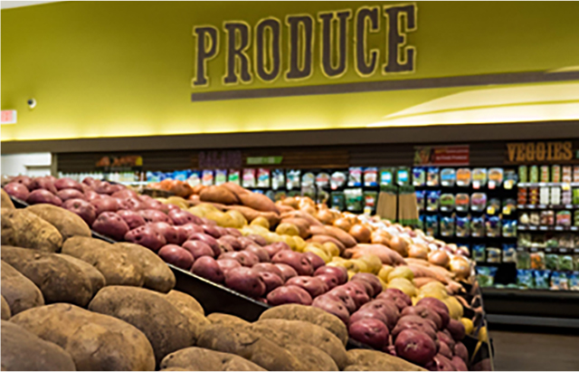 Grocery store potato display