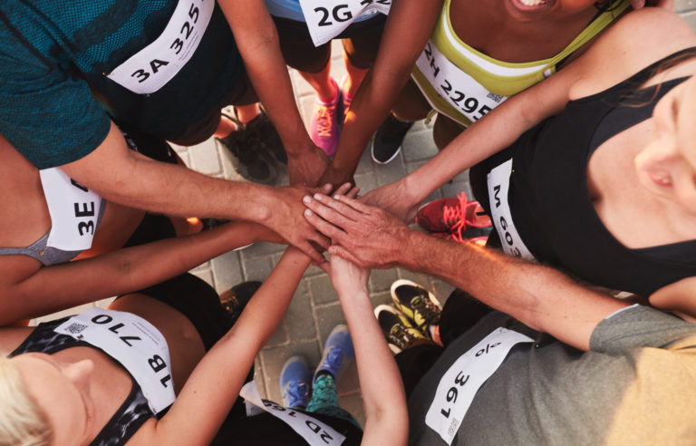 Huddle before the race